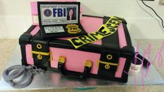 Off To College Cake By Tabitha Rodriguez! @ Tabi's Custom Creations, clients daughter is leaving for college to study Criminal justice (FBI)