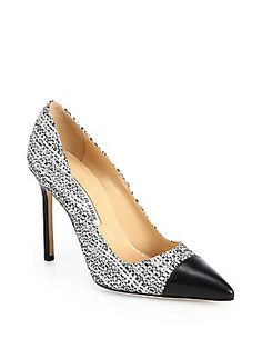 Manolo Blahnik Bipunta Tweed & Leather Cap-Toe Pumps