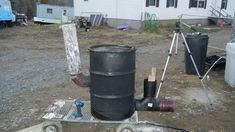 "Building 6"" stove pipe rocket stove heater 55 gallon drum version part 1..."