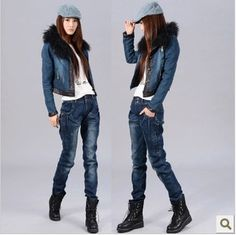 2014 spring autumn and winter thickening plus velvet jeans female trousers harem pants women trousers casual trousers