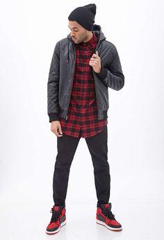 Forever 21 | Hooded Faux Leather Bomber #forever21 #bomber #jacket