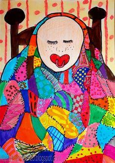 Onder de deken, in de stijl van Gustav Klimt De leerlingen krijgen een vel papier en tekenen hierop een baby die in zijn wieg onder een lappendeken ligt. De deken wordt verdeeld in glooiende vlakken, die allemaal anders worden ingekleurd. Gebruik hiervoor viltstiften. Met zwarte getekende streepjes aan de randen van de lapjes, wordt de lappendeken nog echter. Gebruik pastelkrijt voor een behangetje achter het bed.