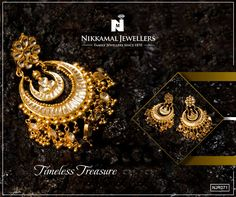 A Timeless Treasure! Buy these Gorgeous Chaand Balis in Gold & Kundan to go with all your Traditional Outfits. Buy them at Nikkamal Jewellers Ludhiana & Jalandhar Showrooms. #nikkamaljewellers #gold #kundan #diamond #polki #platinum #watches #ludhiana #jewellery #jewelry #indianjewellery #chaanbalis #balis