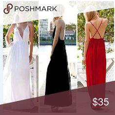 Chiffon backless dress  (white or black) Lined to above backless chiffon Dresses Backless