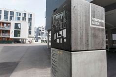 Signage system for Stadtwerk Lehen in Salzburg, Austria. They took the 2D Logo and recreated it as 3D cube as display for the informations.