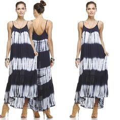 Shoreline maxi -  Shoreline maxi Description: This sleeveless tie dye maxi dress features an adjustable cami straps, a V-neckline and asymmetrical ruffled hemHeight w/o heels: 5'8 Bust: - Cup: B Waist: 23 Hips: 35 Dress Size: 2 Shoe: 6 Hair: Brown Eyes: Brown   Fabric: 96% BAMBOO 4% SPANDEX - $39.00