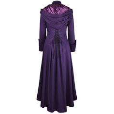 Long Purple Gothic Coat with Hood and Corset Back ($99) ❤ liked on Polyvore featuring outerwear, coats, long hooded coat, purple coats, gothic hooded coat, hooded coat and goth coat