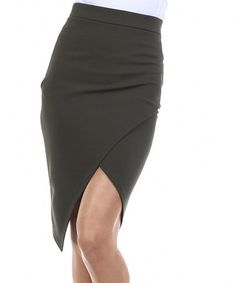Look what I found on #zulily! Olive Faux Wrap Pencil Skirt #zulilyfinds
