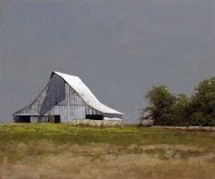 """Marc Bohne """"Barn Near Columbia, MO"""" 10 x oil on panel. My dad has always had a love for old barns and this painting made me think of him and photos/barns he showed me growing up. Contemporary Landscape, Landscape Art, Landscape Paintings, Watercolor Landscape, Artist Painting, House Painting, Watercolor Artists, Painting Lessons, Watercolor Painting"""