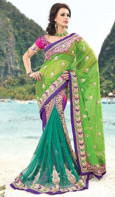 G3 fashions Turquoise Lime Net Wedding Wear Lahenga Saree  Product Code : G3-LS10460 Price : INR RS 7832