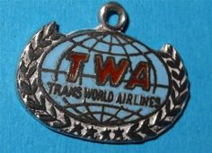Vintage Silver Charm Enamel TWA Airlines Travel Souvenir/ I have this charm!!!