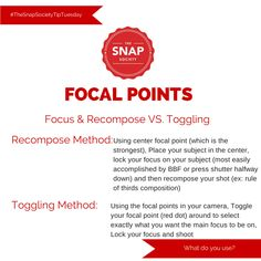 #TheSnapSocietyTipTuesday, How do you choose your focal points?, Focus and Recompose, Toggling your focal points, photography tutorials, photography how to, how to use your camera, The Snap Society, www.thesnapsociety.com