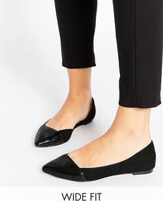 ASOS LOOK BACK Wide Fit Pointed Ballet Flats - Black - US