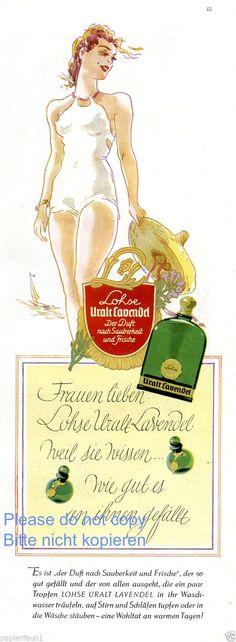 Parfum Lohse Uralt Lavendel Reklame von 1941 Badeanzug Sommer Segelboot Werbung | eBay