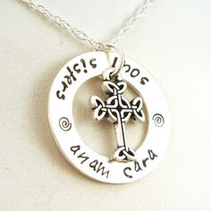 The perfect gift for your soul sister. Anam cara is Irish for soul friend. The hand stamped pendant is a 1 sterling silver washer and comes on an 18 sterling silver rope chain. The washer is free-spinning -- representing the circle as eternity. Please make a note of my turnaround time
