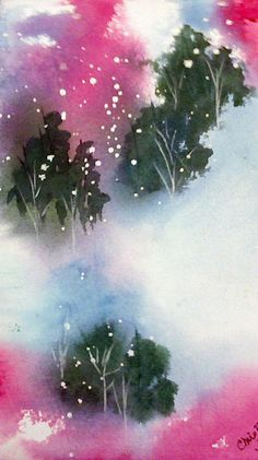 Pines and Snow - watercolor by ©Chris Blevins (FineArtAmerica)