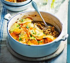 Spiced Lentil and Mushroom Hotpot - This healthy potato-topped bake is low in fat and calories with high in fibers. This vegan winter warmer any family will love it. Bbc Good Food Recipes, Vegan Recipes Easy, Vegetarian Recipes, Cooking Recipes, Lentil Recipes, Veggie Recipes, Bean Recipes, Mushroom Recipes, Healthy Snacks For Diabetics