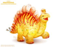 Daily Paint Eggosaurus by Cryptid-Creations on DeviantArt Cute Kawaii Animals, Cute Animal Drawings Kawaii, Kawaii Art, Kawaii Drawings, Mythical Creatures Art, Cute Creatures, Desenhos Cartoon Network, Animal Puns, Animal Food