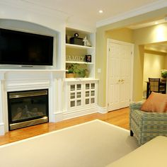 TV Recessed above fireplace. Tv Over Fireplace Design, Pictures, Remodel, Decor and Ideas