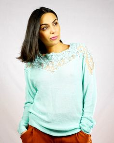 NEW INPastel Mint Lace TopSpring TopSpring FashionBoho by KiZoy Boho Fashion, Spring Fashion, Fashion Outfits, Pastel Mint, Spring Tops, Blouse Styles, Pullover, Woman, Trending Outfits