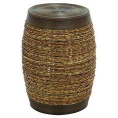 """Indoor/outdoor barrel stool with woven center detail.   Product: StoolConstruction Material: PolyethyleneColor: BrownFeatures: Barrel shapeDimensions: 19"""" H x 14"""" Diameter"""