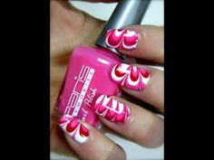 Valentine Nails [Water Marble Tutorial Nail Art]