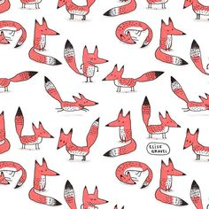 I'm obsessed with patterns. #fox #illustration #orange
