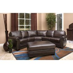 Santa Monica Leather Sectional and Ottoman