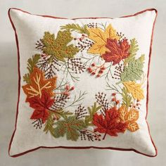 It's a super-comfy zippered pillow, sure, but it's also a tossable work of art. Our Harvest Wreath Pillow offers a timeless design that works in traditional, farmhouse and contemporary rooms. Thanksgiving Crafts, Thanksgiving Decorations, Fall Crafts, Holiday Crafts, Cushion Embroidery, Hand Embroidery, Fall Projects, Sewing Projects, Felt Pillow