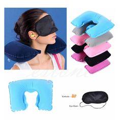 Color de Radom 1 Unidades de Kit de viaje inflable herradura cuello almohada + máscara de ojos + Ear Plugs gris y azul almohada avestruz
