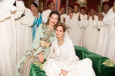 (R) Princess Lalla Soukaina and her mother Princess Lalla Meryem of Morocco during her wedding celebration on 28.05.2014