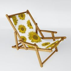 Yellow Scattered Sunflowers Sling Chair by loraseverson Outdoor Chairs, Outdoor Furniture, Outdoor Decor, Fold Up Chairs, Sunflower Gifts, Folding Stool, Beach Chairs, Folded Up, Recliner