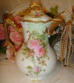 Limoges Chocolate Pot with Pink Roses