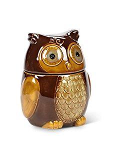 """Amazon.com: 7.5"""" Stoneware Brown Owl Kitchen Food Storage Canister Cookie Biscotti Jar: Kitchen & Dining"""
