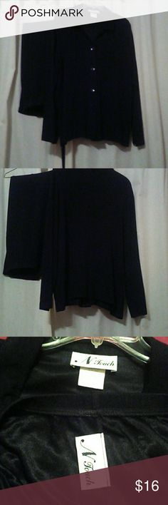 """N Touch Jacket & Pants Set Size L/The new owner of this black set will love it. Light weight. Wrinkle free  washable  96% acetate 4% spandex. Excellent Condition! I wish all my dressy clothes were this material!! Jacket 46"""" across chest. Shoulder to hem 27"""" pants elastic waist band 28""""-38"""" inseam 29"""" N Touch Jackets & Coats"""