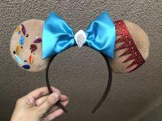 Disney Ears Headband, Diy Disney Ears, Disney Headbands, Disney Mickey Ears, Ear Headbands, Mickey Mouse, Disney Diy Crafts, All Disney Princesses, Blue Bow