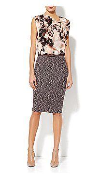 Eva Mendes Collection - Melanie Draped-Shoulder Top, Tweed Pencil Skirt, Bow Belt