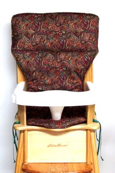 replacement high chair pad, feeding chair pad, high chair cover, Eddie Bauer baby accessory, baby and child care, wood chair, royal paisley by SewingsillySister on Etsy