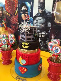 Festas, personalizados, bolo, cupcake Super Heróis