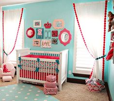 Turquoise and Red Themed Nursery | Sweet Dreams Little Baby - Nursery Decorating Ideas ENZIE SHAHMIRI ...