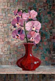 Mosaic Orchids in a Vase - photo from artmonument.ru ...artist's name not given...