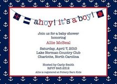 Nautical Baby Shower Invite.. cute idea.. wonder if baby is a boy or girl...