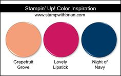 Stampin Up! Color Inspiration - Grapefruit Grove, Lovely Lipstick, Night of Navy