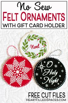 Make these DIY felt gift card ornaments and give a gift that's both personal and practical. Includes templates, SVG cut files and a full tutorial. Gift Card Basket, Gift Card Boxes, Felt Gifts, Diy Gifts, Felt Christmas, Christmas Ornaments, Christmas Decorations, Food Gift Cards, Gift Card Bouquet