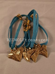 REDWOLF Gold Shark Tooth on Turquoise Suede Bracelet  Only $5.00