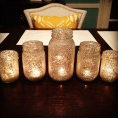 gold glitter Mason jar tea lights Candles Wedding, Wedding Reception Decorations, Wedding Centerpieces, Wedding Table, Diy Wedding, Wedding Favors, Dream Wedding, Trendy Wedding, Glitter Wedding
