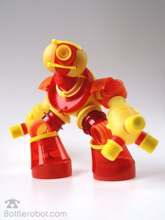 Making robots by recycling plastic bottles.