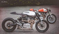"""The Orange Project"" & ""The Fireball"". Two Yamaha Cafe Racer by Plan B Motorcycles. Beautiful model Marta Pivanti   Photos by N_Drew.Preciosas motos acompañadas de una bella modelo ;)www.caferacerpasion.com"