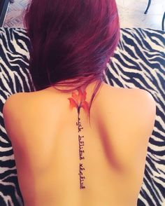 Arabic Font Watercolour Blood Orchid Spine Tattoo