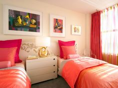 twin beds...coral orange and hot pink also not bad